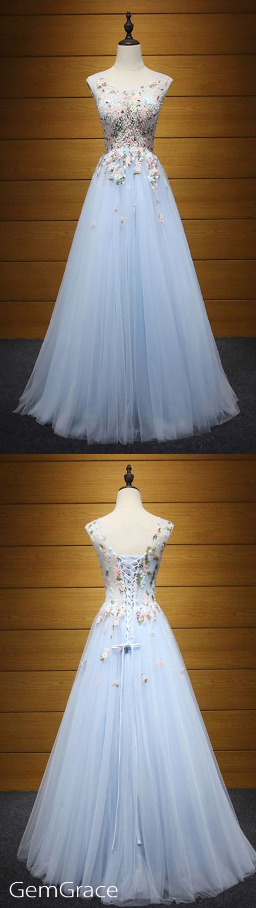 Beautiful floral prom dress blue tulle beaded floor length style