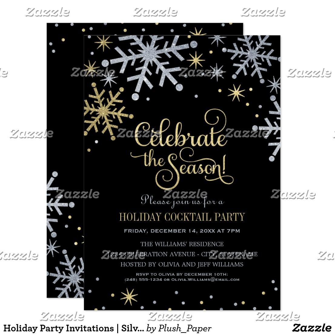 holiday party invitations silver and gold colors holiday party