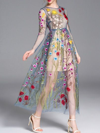 8d0bce3620 Shop Blue Sheer Gauze Embroidered Maxi Dress online. SheIn offers Blue Sheer …