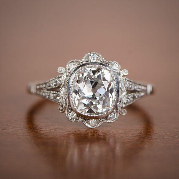 1 50ct Old Mine Diamond Handmade Platinum Mounting Art Deco Style Engagement Ring Vintage Wedding And Rings Pinterest