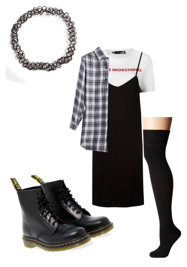 """""""grunge"""" by uandme123456 on Polyvore featuring Dr. Martens and Love Moschino"""