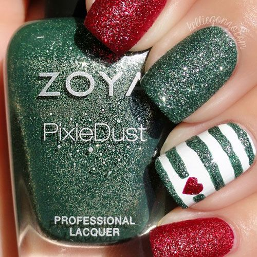 Nail Art Designs Red And Green Papillon Day Spa