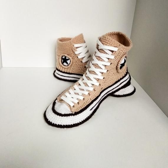 Knitted converse slippers43 House slippers men Beige