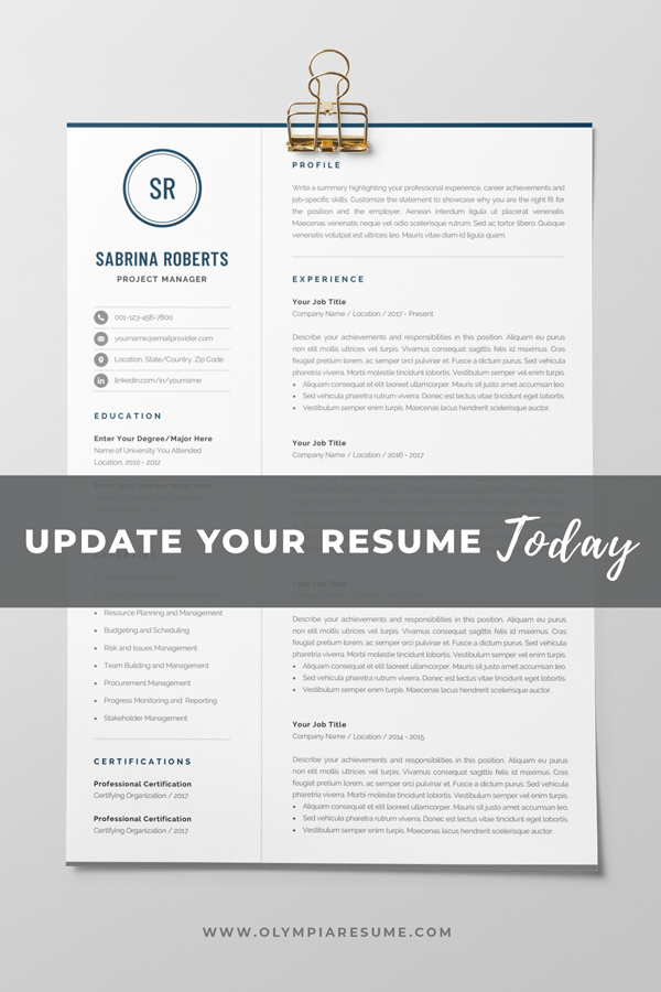 Professional 1 Page Resume Template Modern One Page Cv Etsy Resume Template Professional One Page Resume Template Cv Template