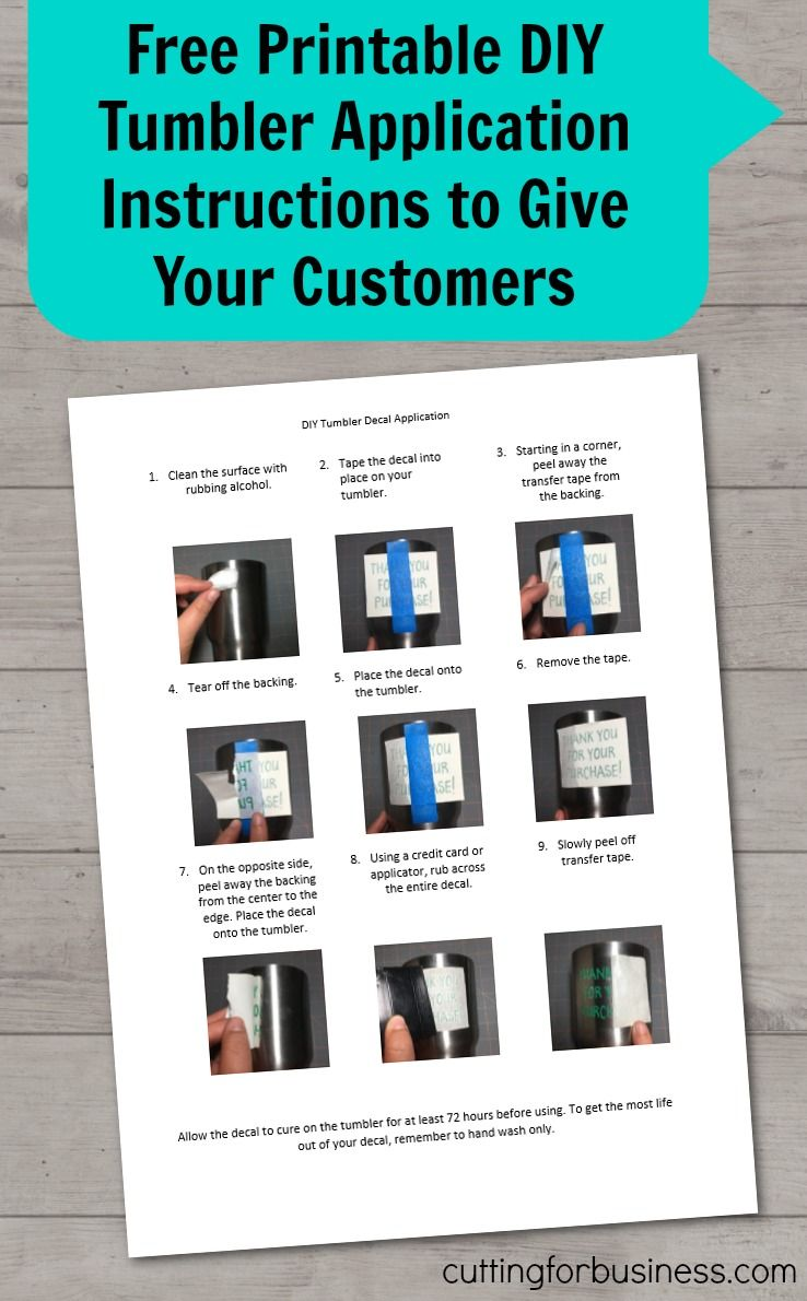 Free printable diy tumbler application instructions to give to customers in your silhouette cameo or cricut small business by cuttingforbusiness com