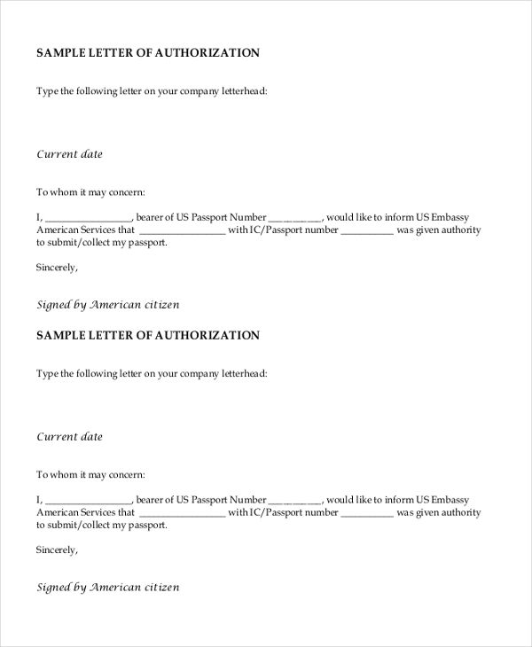 Sample Letter Of Authorization Form Authorization Letter Return