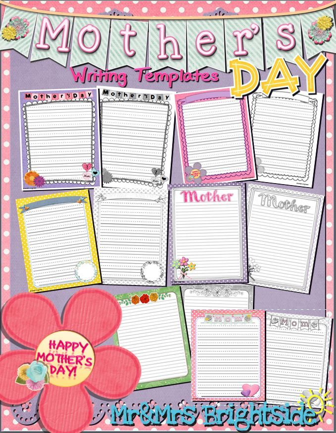 001 Mother's Day Writing Templates Mother's day theme