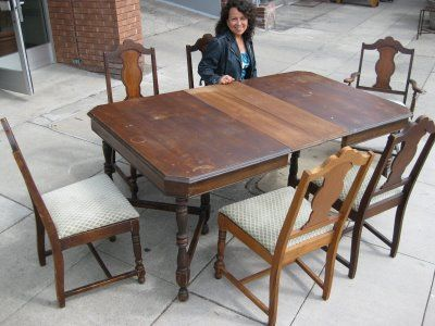 UHURU FURNITURE U0026 COLLECTIBLES: SOLD   1940s Dining Table, 3 Leaves And 6  Chairs   $115