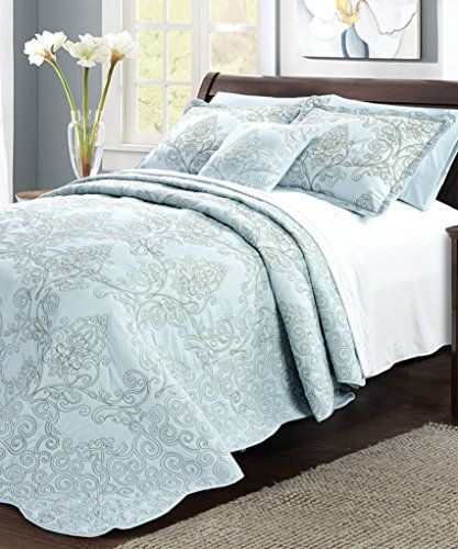 Bnf Home Damask 4 Piece Bedspread Set Queen Blue Bnf
