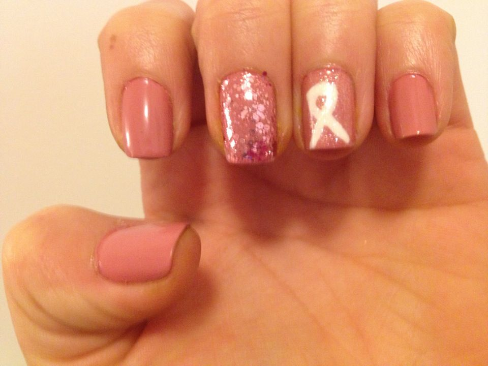 Breast cancer awareness nails =}