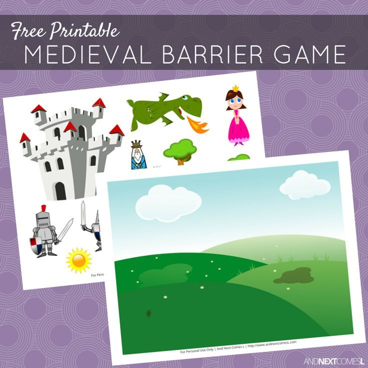 Free Printable Medieval Barrier Game for Speech Therapy