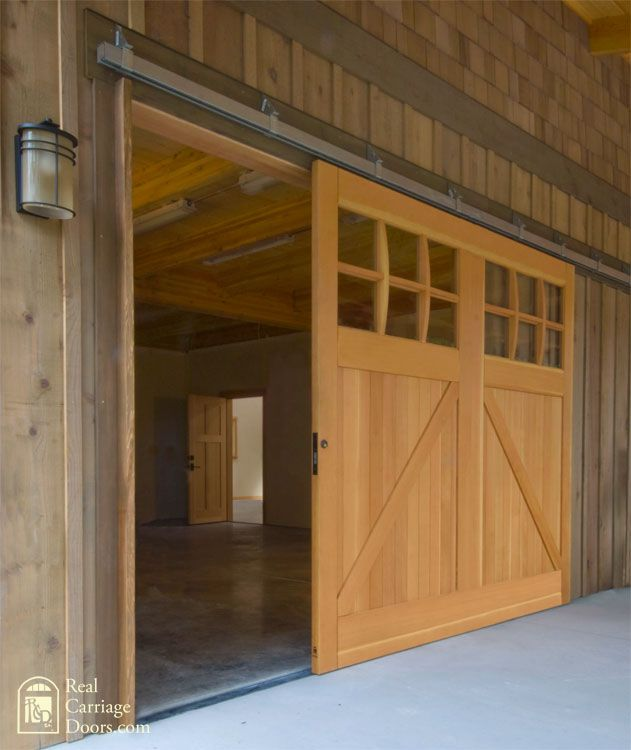 Single sliding barn door for a garage door o u t d o o r for Single sliding barn door
