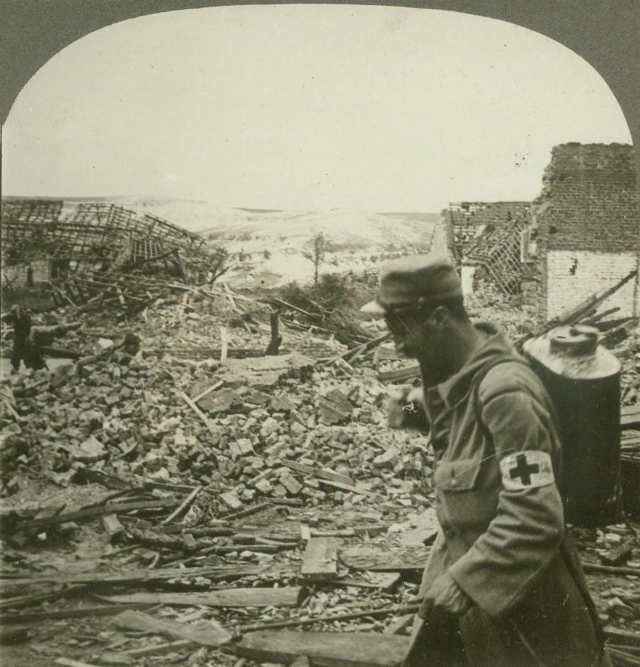 WW1. Sanitary Work - Disinfecting the Ruins With Patent Spray.