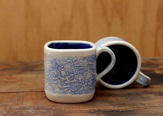 Handmade Ceramic Beige With Blue Lace Print By LinasPottery. Sweet, Girly,  And Delicate