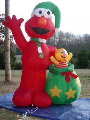 rare 8 lighted christmas sesame street elmo inflatable airblown yard blow up