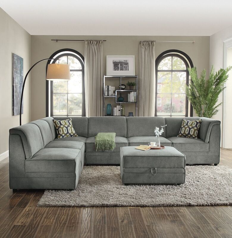 Awesome Acme 53780 81 82A 7 Pc Bois Gray Velvet Modular Sectional Andrewgaddart Wooden Chair Designs For Living Room Andrewgaddartcom
