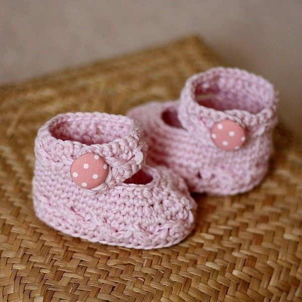 Baby Booties Crochet Pattern Pdf File Polka Dot By Monpetitviolon