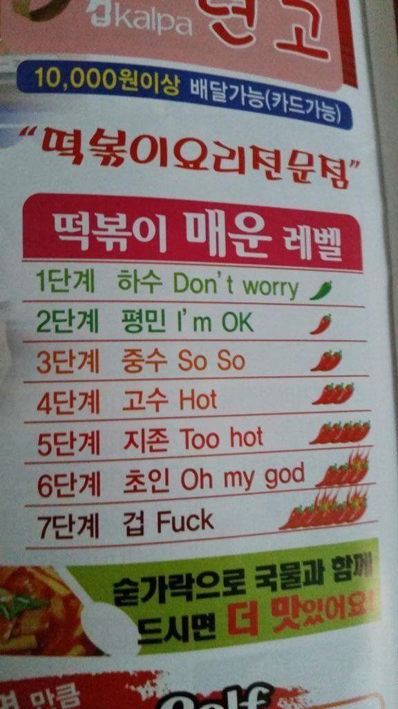 Korean spice levels