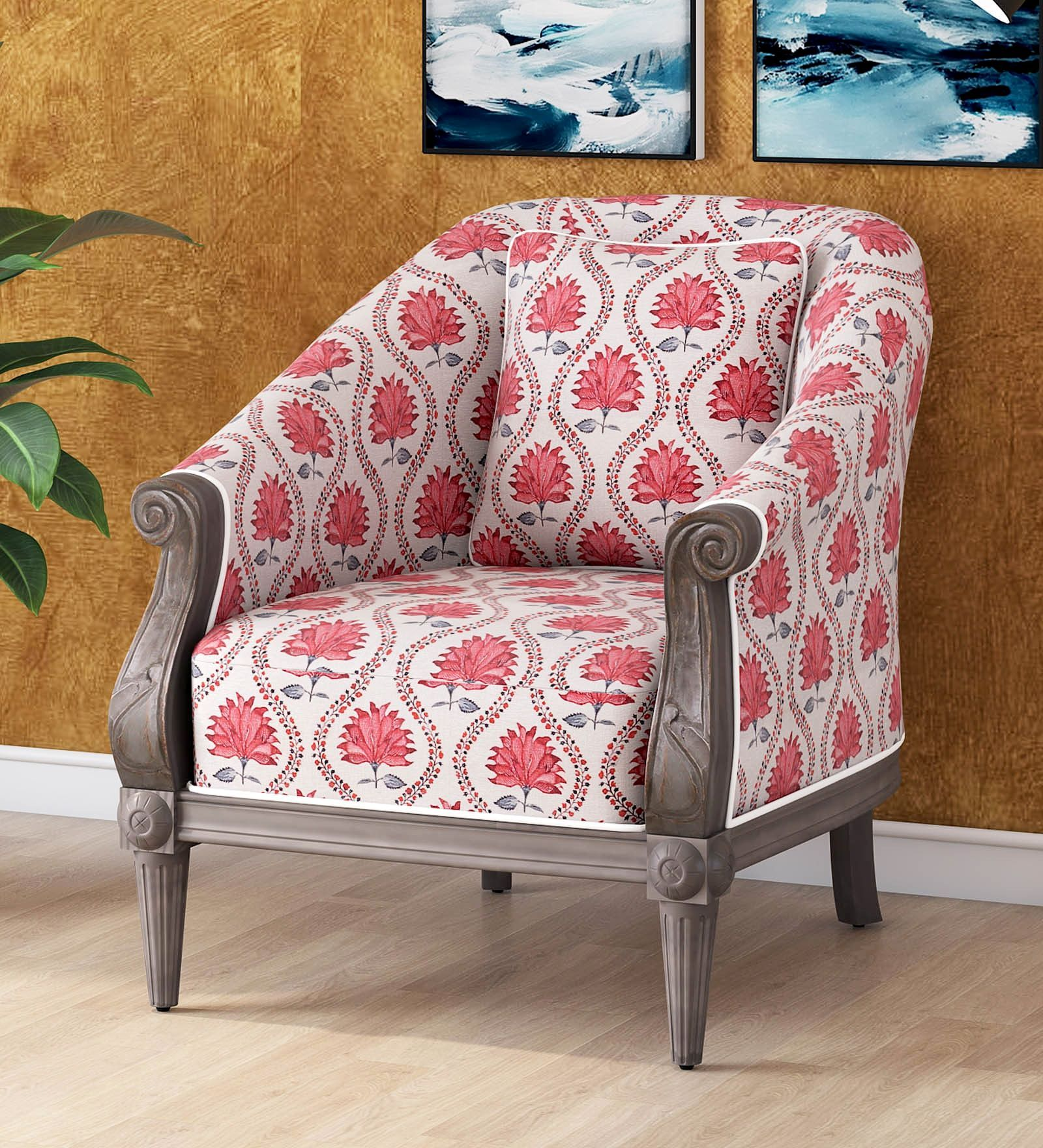 Jasmine Barrell Chair in Grey Wash Finish by Amberville