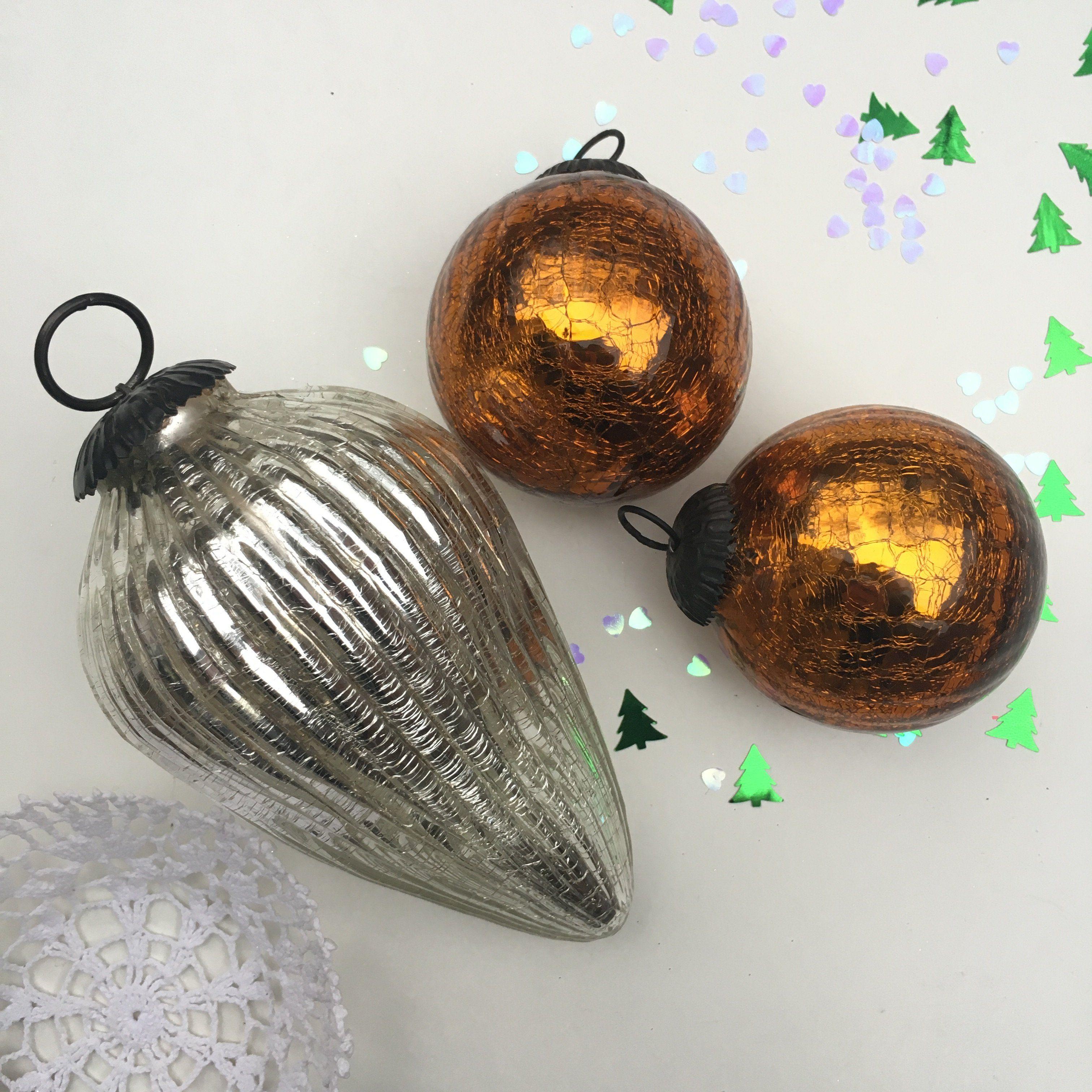 Boules De Noel Anciennes Orangevertevintage — Boules de Noel Anciennes Boules de Pardon