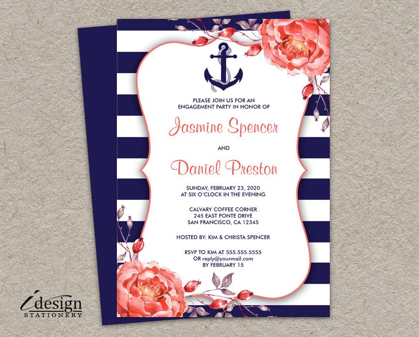 anchor wedding invitations printable nautical themed engagement invitation with 1298