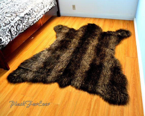 Plush Brown Stripes Russian Bear Faux Fur Area Rug By Plushfurever Https Www Etsy Com Shop Plushfurever Faux Fur Area Rug Bear Rug Luxury Home Decor