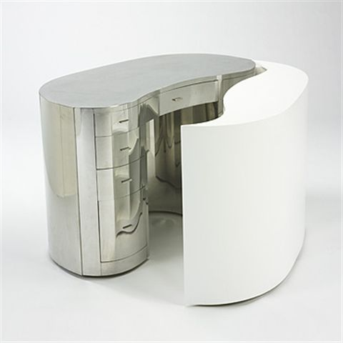 Gabriella Crespi Yin Yang desk in stainless steel and lacquer