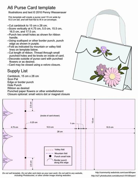 A6 Purse Card Template Bjl Card Making Templates