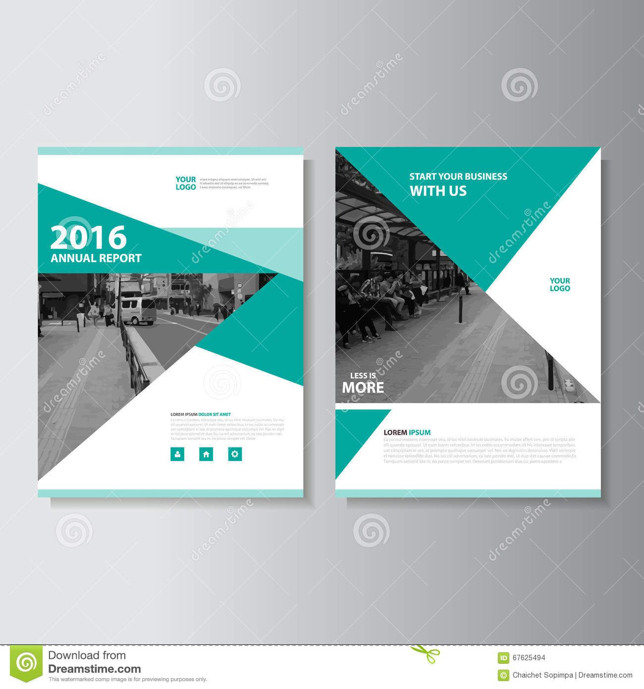 Book Cover Layouts : Green vector magazine annual report leaflet brochure flyer