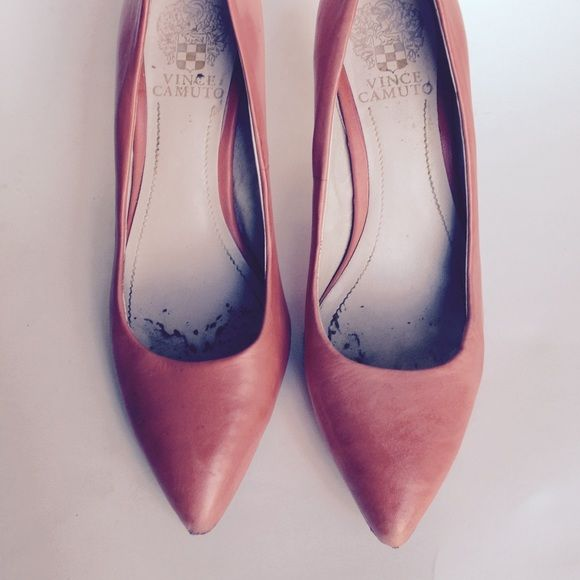Vince Camuto Leather Pumps Nice Tangerine Colored Vince Camuto Pointy Toe Leather Pumps. Shows Some Wear and Scuff Marks But Still A lot of Life Left in Them. Soft Leather. Vince Camuto Shoes Heels