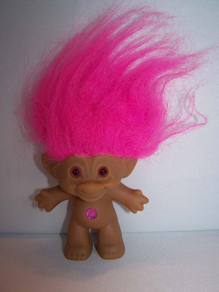 Treasure Troll Doll Ace Novelty Wishstone Pink Gem Jewel Belly