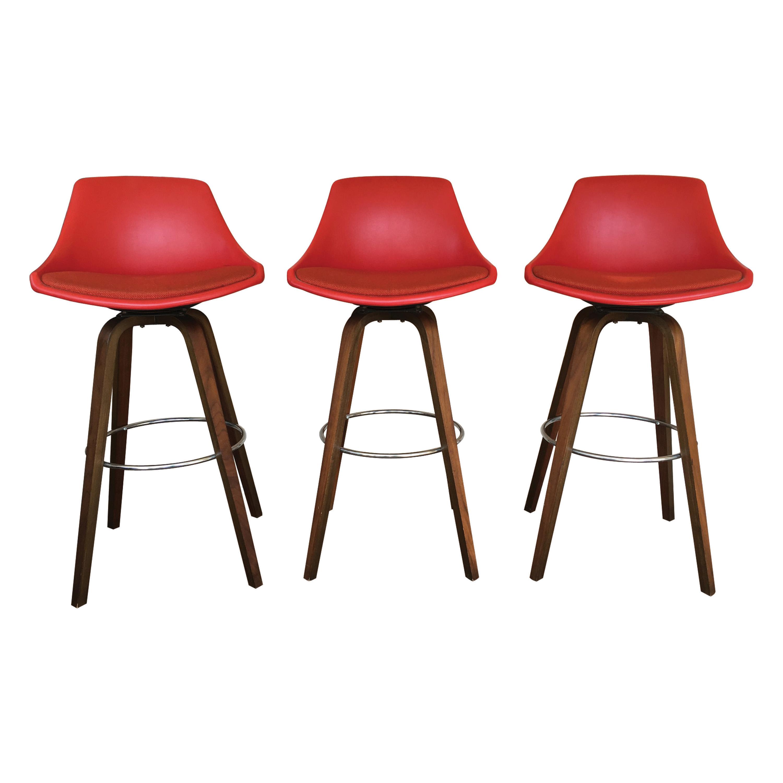 John Yellen Mid Century Red Bar Stools Set of 3