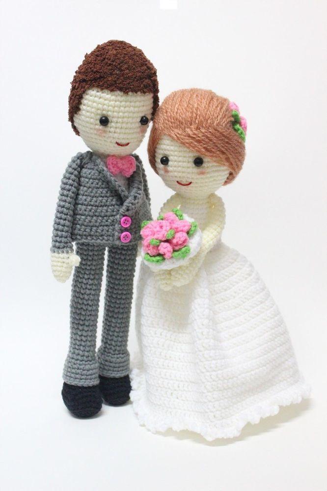 Handmade Crochet Patterns Wedding Dolls Groom & Bride Needlecrafts ...