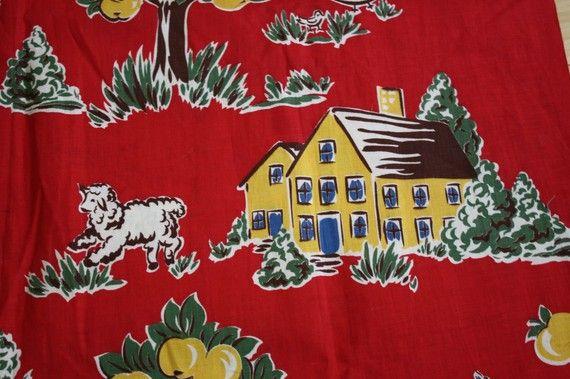 Vintage 1940s Linen Printed Fabric Sheep Farm Scene