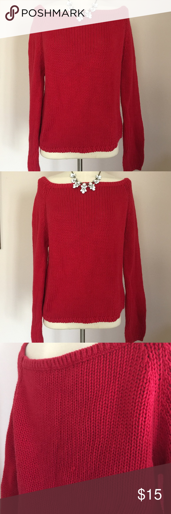 Vintage 90s Sexy Off Shoulder Red Crop Sweater L | Red sweaters ...