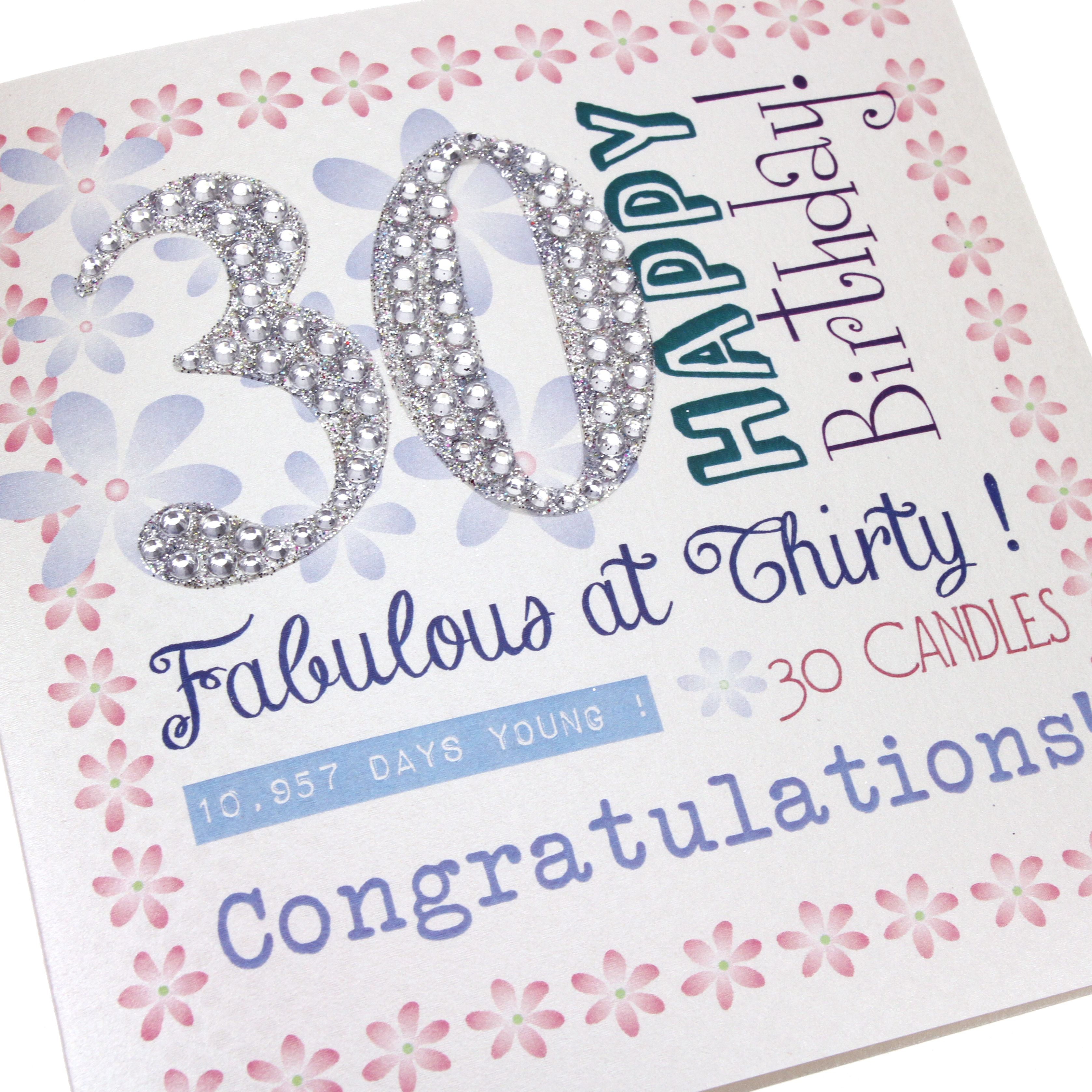 Handmade 30th Birthday Card Female Flowers Pink Diamanté Numbers
