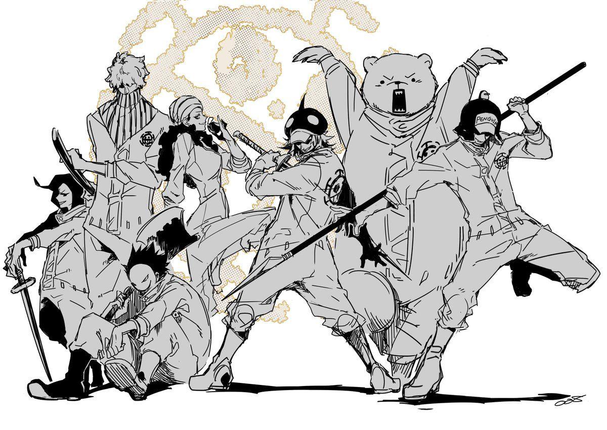 Heart Pirates Trafalgar D Water Law Bepo Shachi Penguin Ikkaku One Piece One Piece Comic One Piece Anime One Piece Fanart