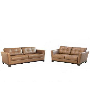 Caramel Color Leather Sofa And Loveseat At Macys