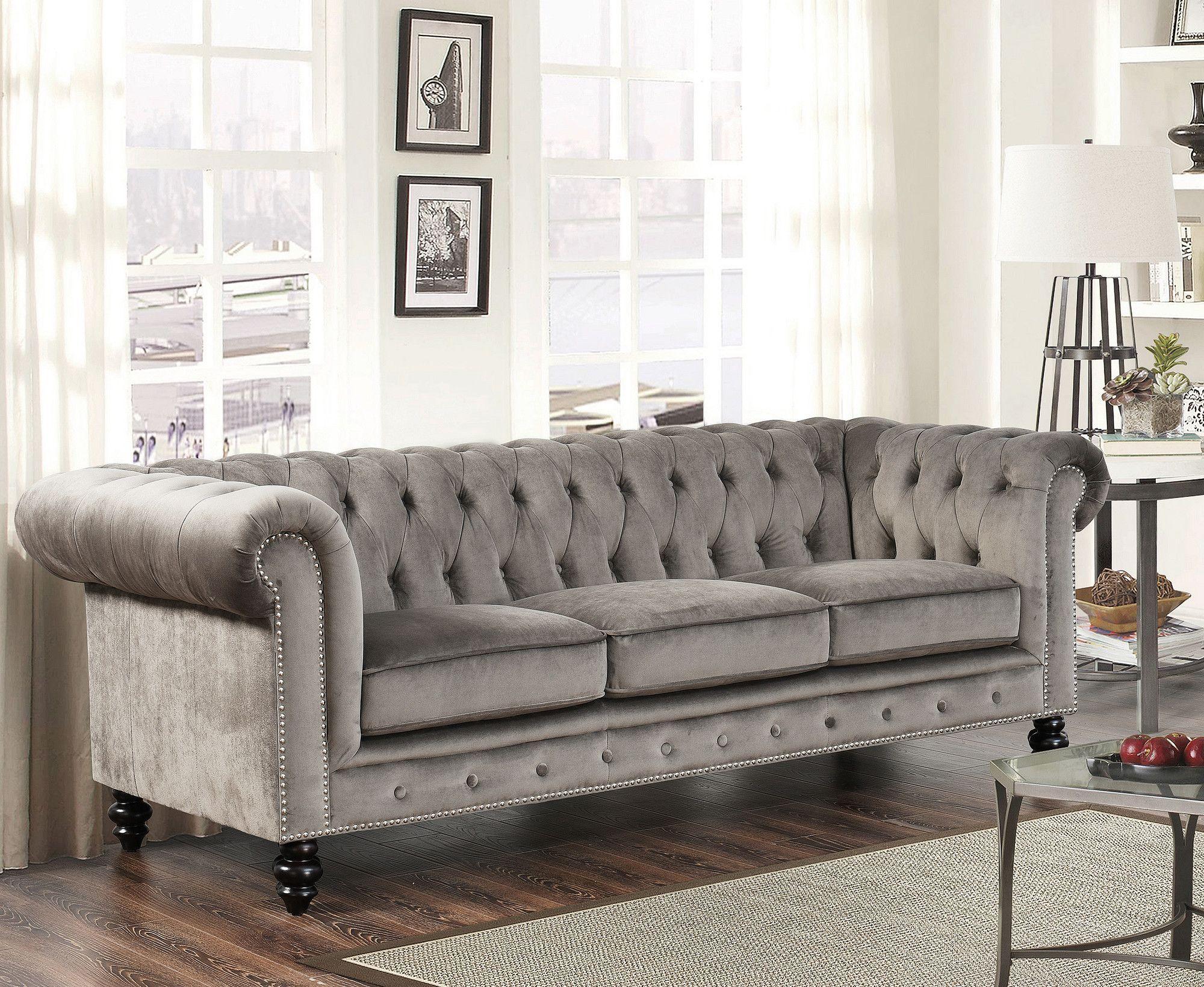 Grand Chesterfield Sofa  living room  Grey velvet sofa