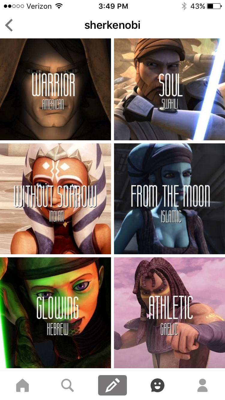 Some Star Wars Characters Names Meanings And The Of The Name Star Wars Fandom Star Wars Ahsoka Star Wars Clone Wars