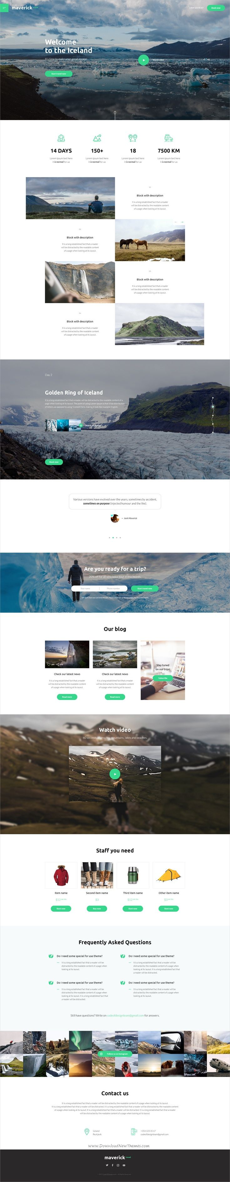 Maverick is a wonderful #Photoshop template for #travel company website with 3 homepage layouts and 7+ organized PSD pages download now➩ https://themeforest.net/item/maverick-travel/19330055?ref=Datasata