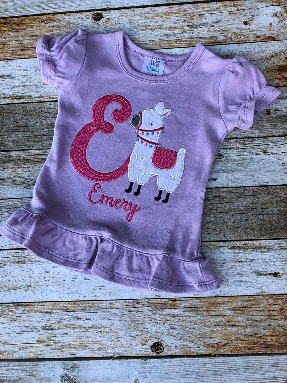 Personalized Initial Monogram Birthday Alpaca Llama Girls Shirt