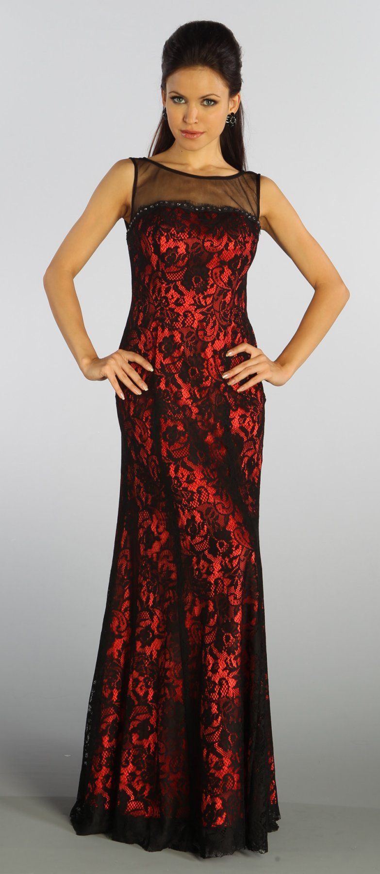 Long Lace Black Red Evening Gown Wide Strap Illusion Neck V Back ...