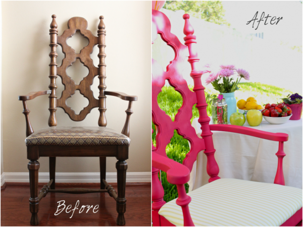 Dining Chair Redo in Raspberry Pink   Redo dining chairs ...
