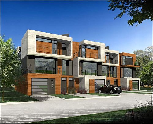Another row house idea a single unit here with garage for Very modern houses