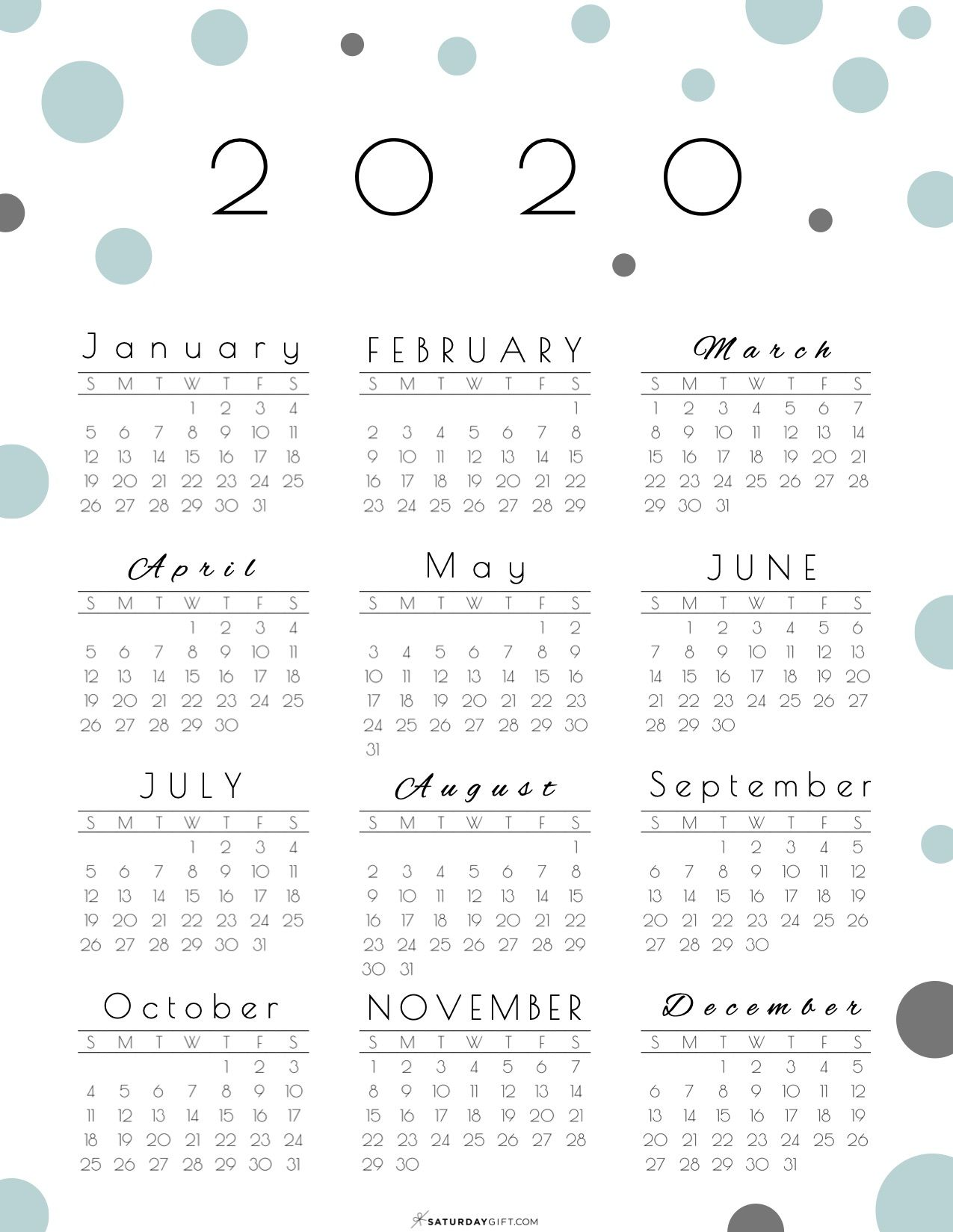 2020 Calendar Printable Yearly Calendar Yearly Calendar Printable Calendar Template