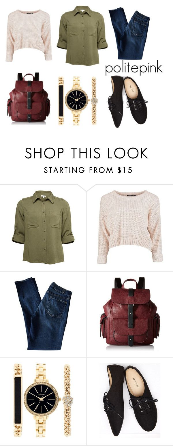 """""""#762 - khaki love"""" by politepink ❤ liked on Polyvore featuring 7 For All Mankind, Kenneth Cole Reaction, Style & Co. and Wet Seal"""