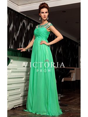 Formal Evening Green Chiffon A-Line Long Cap Sleeve Prom Dress - US$ 286.19 - Style P2175 - Victoria Prom
