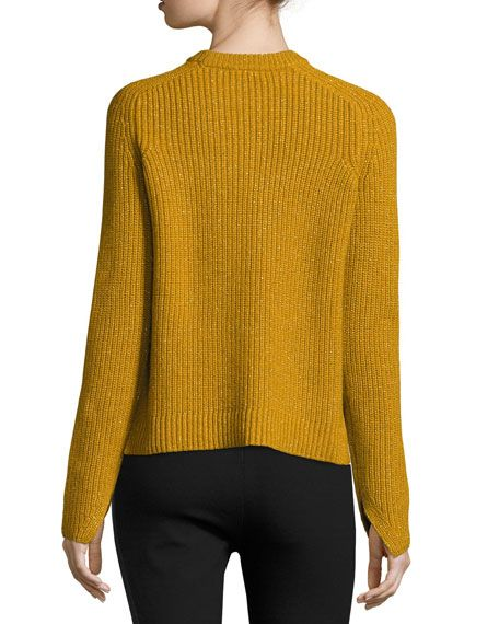 Genna Ribbed Pullover Sweater, Gold | Gift