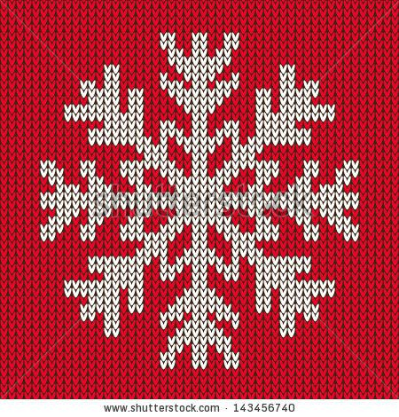 Snowflake Christmas Ornament On Red Background Knitted Seamless